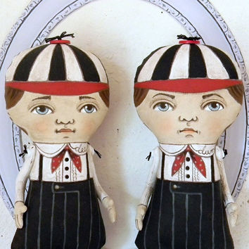 Tweedle Dee and Tweedle Dum-- Contemporary Folk Art Doll Sculpture-- Hand Painted Original- Made to order within a week