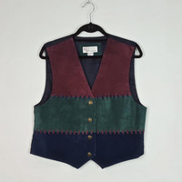 L Vintage Suede Leather Vest Gem Stone Colors Navy Blue Maroon Dark Green, 90s Style Vest, Button Down Vest