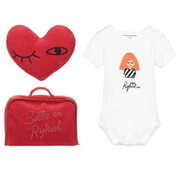 Sonia Rykiel Baby White Romper and Red Heart Gift Set
