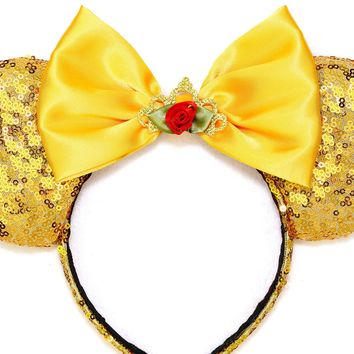 Enchanting Rose Belle Ears - Gold Sequins and Gold Bow