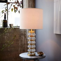 Clear Disc Table Lamp - Large (Antique Brass/White Linen)