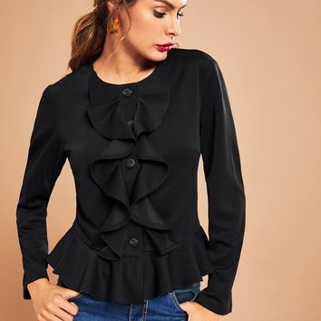Black Ruffle Detail Single Breasted Jacket