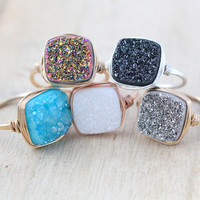 Druzy Cushion Cut Cocktail Rings (12mm)