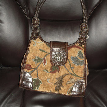 Tapestry purse 1990's Purse Hand bag  Gift Ideas  Purse Should bag  Tote bag Gifts For Her Brown purse  Tan handbag Leaf pattern should bag