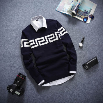 Long Sleeved Sweater Navy and White