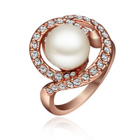 White Pearl Rose Gold Plated Ring