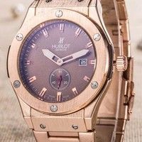 Hublot men and women fashion exquisite quartz watch F Coffee Dial