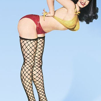 Pin Up Art Brunette With Black Mesh Poster