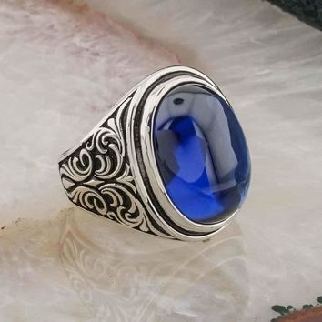 Blue amber gemstone 925k sterling silver mens ring