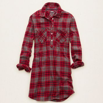 AERIE FLANNEL HENLEY NIGHTIE
