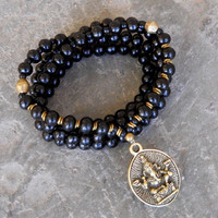 strength - 108 mala wood prayer beads and African trade bead wrap yoga bracelet or necklace, with Ganesh pendant