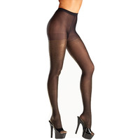 Be Wicked Black Opaque Gold Lurex Pantyhose