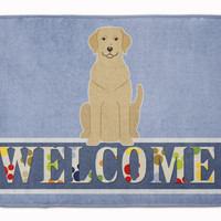 Yellow Labrador Welcome Machine Washable Memory Foam Mat BB5636RUG