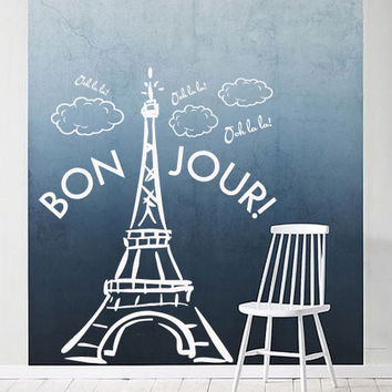 Interior Wall Decal Vinyl Sticker Decor Sign Paris Mural France The Eiffel Tower City World Bedroom cloud Bonjour hello quote gift (m1387)