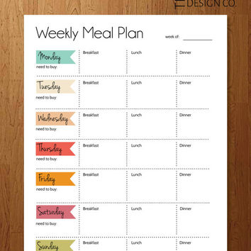 Instant Download - Weekly Meal Planner
