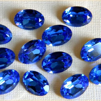 Vintage Czech Glass Oval Sapphire Faceted Foiled Cabochon Stone 11mm x 16mm - 12 pcs.
