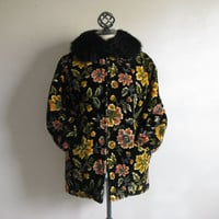 1960s Black Chenille Coat Ladies Vintage Utex 1960s Orange Ochre Floral Carpet Fur Collar Short Outerwear Jacket 10