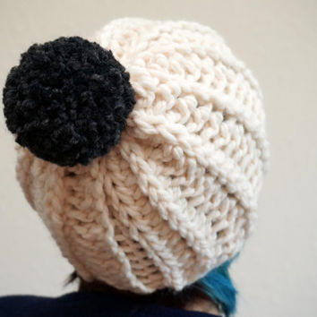 pom pom beanie, pom pom hat, wool hat, two tone hat, wool beanie, chunky beanie / THE TOKO / Cream & Charcoal / Wool Acrylic Blend
