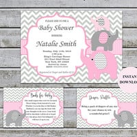 Elephant Baby Shower Invitations Girl Pink and Grey Bookcard Inserts & Diaper Raffle Printable Baby Shower Invites Instant Download (50-1A