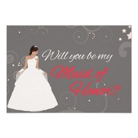 "Will you be my maid of honor white fancy dress 3.5"" x 5"" invitation card"