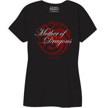 Game Of Thrones Mother of Dragons Licensed Women's Junior Black T-Shirt - XXL