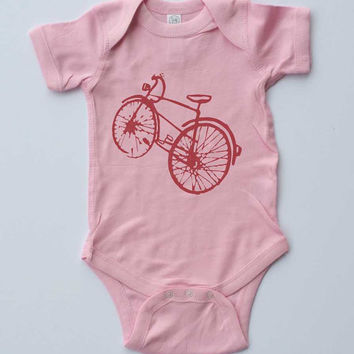 Baby Girl Onesuit-Pink Bicycle-Baby Girl Outfit-Pink Onesuit bodysuit-Baby gift-Shower gift