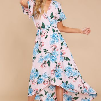 Swinging Into Spring Pink Floral Print Maxi Dress