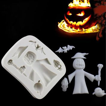 Halloween Pumpkin Witch Ghost Silicone Mold Fondant Mould Cake Decorating Tool baking molds Chocolate Gumpaste Mold Sugarcraft