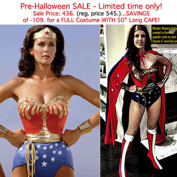 SALE! 436.- marked down from 545.- (109.- savings)...Full Wonder Woman Costume WITH Cape, Tiara, Cuffs, Corset, Belt, Briefs and Earrings...