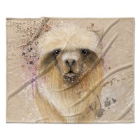 "Geordanna Cordero-Fields ""Llama Me"" Tan Fleece Throw Blanket"