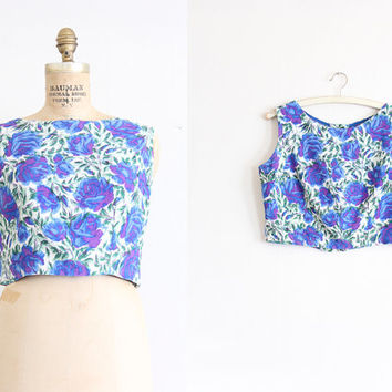 vintage 1960s blouse // 60s floral crop top // purple roses