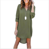 Casual Loose Plus Size Elegant Long Sleeve Irregular Chiffon Dresses