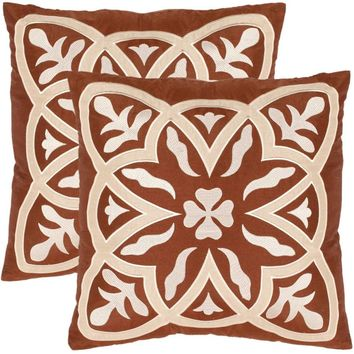 """Safavieh Draco Whirl 18"""" x 18"""" Cream/Brown Pillow, Set of 2"" Off-White"