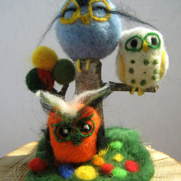 Needle Felted Owl Decor, Felt Owls, Friendship Gift