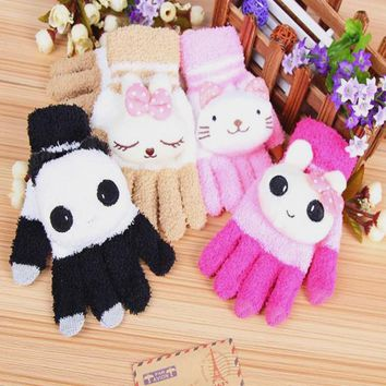 Students Adults Cute Cartoon Cat Panda Gloves Girls Knitted Good Quality Stretch Cuffs Wrist Gloves Children's Mittens guantes