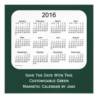 2016 Green Calendar by Janz 5 x 5 Magnet Magnetic Invitations
