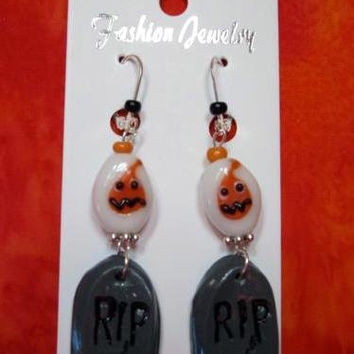 Halloween Earrings,  Dangle Ghost, Handmade Fimo Tombstones, Lampwork Ghost Beads, Silver tone findings, Hypoallergenic earring hooks