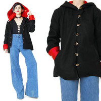 Vintage 90s Asian Coat Black Wool Jacket Hooded Coat Chinese Jacket Ethnic Floral Embroidered Red Satin Toggle Buttons Cuffed Sleeves (M/L)