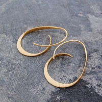 Gold Curl Sterling Silver Hoops
