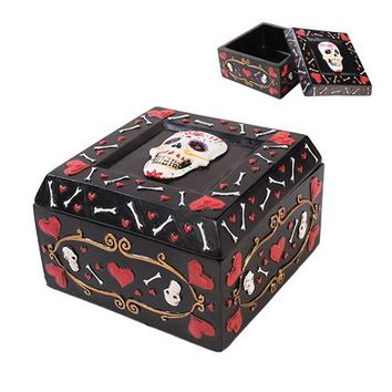 Day of the Dead Hearts and Bones Trinket Box