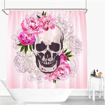 Colored Skull Design Shower Curtain Polyester Fabric Bathroom Curtain 12pcs hooks Waterproof Shower Curtain 180*200