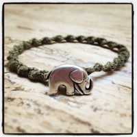 Earthy Green Swirled Hemp Bracelet - Elephant