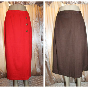Lot of 2 80s Vintage red long side slit skirt with stars large Huntington Ridge nautical sailor pleated