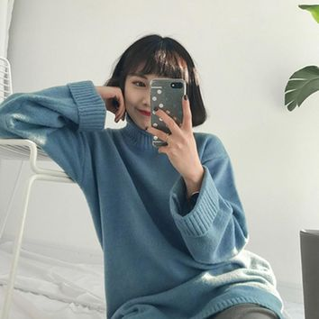5 colors 2016 winter Rabbit hair thermal medium-long roll-up turtleneck sweater solid color women sweaters and pullovers (A9225)