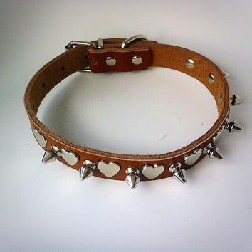 Spiked Dog Collar GENUINE LEATHER with Hearts & Silver Crosses  - Medium  - Brown -  Pet Accessories