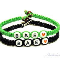 Couples or Friendship Bracelets, BAE, Before Anyone Else, Neon Green and Black Macrame Hemp and Bamboo Jewelry