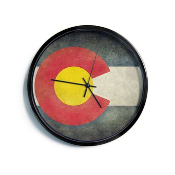 "Bruce Stanfield ""State Flag of Colorado"" Black Red Modern Wall Clock"