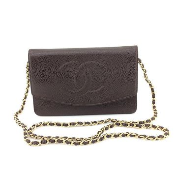 CHANEL Caviar skin CC Chain leather Brown Wallet