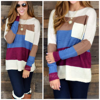 SZ SMALL Stripe A Pose Burgundy Pocket Sweater