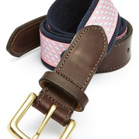 Men's Vineyard Vines 'Whale Club' Leather & Canvas Belt,